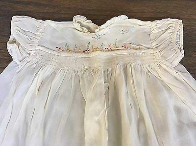 Vtg 40s Silk Smocked Hand Painted Baby Girls Christening Gown Dress