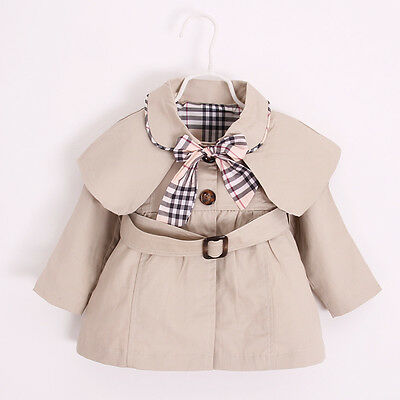 Newborn Baby Jacket Coat Cotton Bow Toddler Girls Trench Coat Kids Outwear Coats