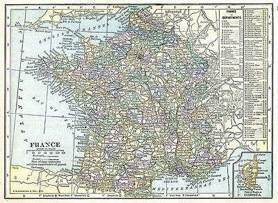 France Map Netherlands Belgium Map 1916 Antique Small Size Europe Wall Decor