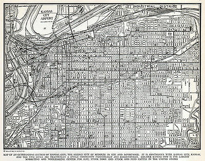 Kansas City Missouri Map LA Vintage 1930's Detailed US City Map Gallup