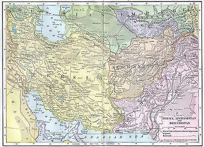 Persia Iran Afghanistan Baluchistan Map Antique 1900s Hammond 1904 Middle East