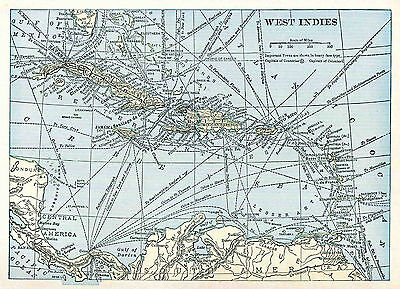 1928 West Indies Map Antique Caribbean Islands 1920s Hammond Wall Decor Small