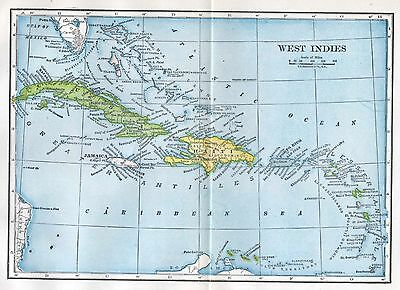 Antique West Indies Map 1900's Hammond Great for Framing Early 1900's Caribbean