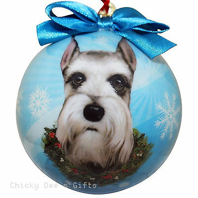 E & S Pets Schnauzer, Cropped Shatter Proof Christmas Ball Ornament