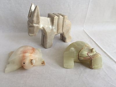 "Hand Carved Onyx Marble Figurines Lot of 3! Donkey Frog Turtle EUC 2""-3"" Small"