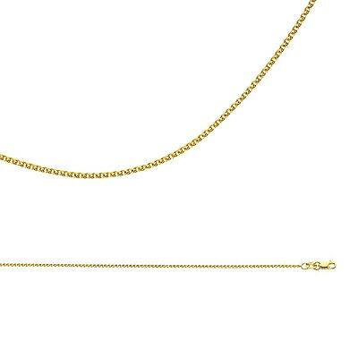 Solid 14k Yellow Gold Chain Wheat Necklace Flat Open Thin Cable , 1.2 mm