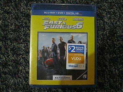 NEW & SEALED  FAST & FURIOUS 6 BLUE RAY + DVD + DIGITAL HD + $2 Movie Credit