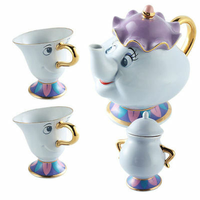 Cartoon Beauty&The Beast Teapots Mug Mrs. Potts Chip Tea Pot and Cup Sugar Set