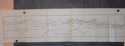 Railroads Union Pacific Between Missouri Kansas & Colorado 1890 Map Hand Colored