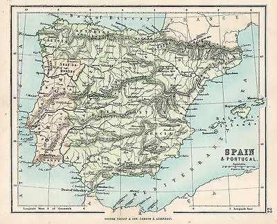 Map Of Spain and Portugal 1896  Original Antique