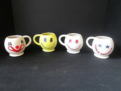 Lot 4 HAPPY SMILEY FACE McCoy Pottery Coffee Mugs Clown Smile America Yellow Red