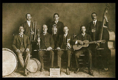 "1909 JAZZ BAND photo Peerless Orchestra NEW ORLEANS, 19""x13"" Print, MUSIC"