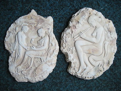 Pair of Ancient Wall Plaques: Mistress and Servant & Ludovisi Throne