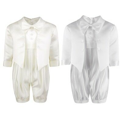 Baby Boys Luxury White Ivory Christening  Special Occassion Romper Suit