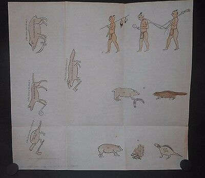 Iroquois Indians of New York 1666 Drawings Published 1849 Hand Colored