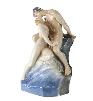 Theodor Lundberg for Royal Copenhagen Porcelain Sculpture The Wave & Rock #1132