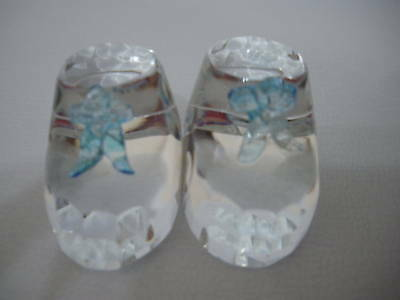 **baby Boy Blue Bow Glass Shoe / Bootees*new With Box**