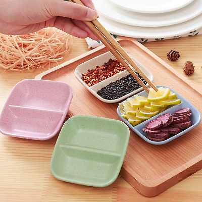 2pc/set 2 in 1 Square Eco-friendly Wheat Straw Snack Plate Seasoning Sauce Dish