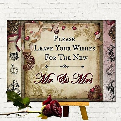 Alice in Wonderland Wedding Guest Book 'Leave Your Wishes' Sign