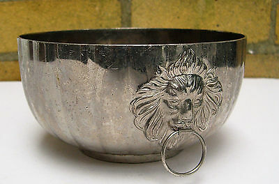 Silver Plated Ribbed pattern Wine Cooler Bowl with Lion Head Handles