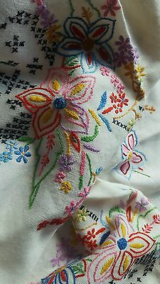 """Hand embroided table cloth vintage tea party 43"""" x 51"""""""