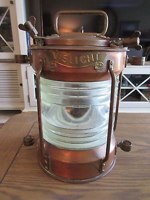 Great Copper & Brass Nautical Full Circle  Light W/ Clear Fresnel Glass Lens