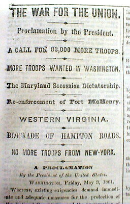 1861 Civil War newspaper ABRAHAM LINCOLN PROCLAMATION call For SOLDIERS to FIGHT