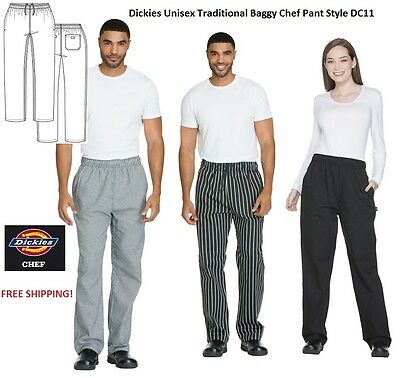 Dickies Unisex Traditional Baggy Chef Pant Style DC11 (ALL SIZES/ALL COLORS)