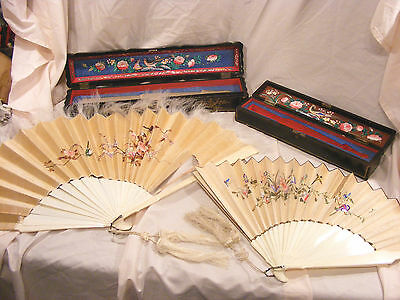 2 Antique Chinese Canton Silk Embroidered Court Face Fans With Cases