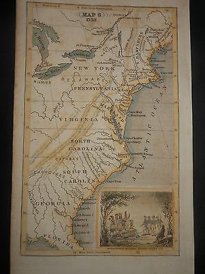 1733 Colonial Map United States Indian Tribe Oglethorpe Hand Colored