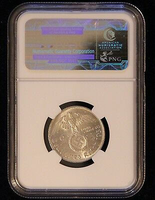 NGC AU-58 1938-B Nazi Germany Two Reichsmark Silver Coin WWII Third Reich