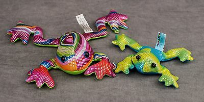 beanbag (sand fill) FROG set of 2 rainbow shiny floppy by Geckos Snakes & Frogs