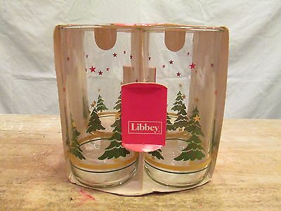 Set 4 Orig Pkg CHRISTMAS TREES STARS Holiday Collection Libbey Glasses Tumblers