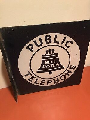 Rare Old Public Telephone Bell System Flange Sign Double Side