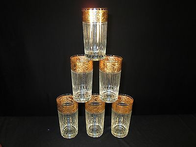 "6x Culver 5.5"" Tumblers Barware Glasses Gold Foil Trim Clear Stripe Vintage Mod"