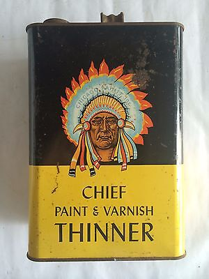 Vintage Chief Paint and Varnish Thinner, Chicago Paints Company 1 Gallon Can