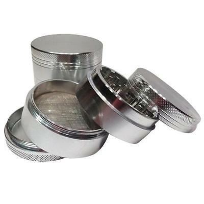 US Men Silver Nice 4-piece Metal Hand Muller Herb Spice Tobacco Grinder Crusher