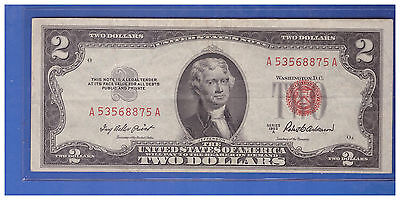 (1)-1953A  Series United States Note Red Seal $2 Two Dollar Bill  LOT N626