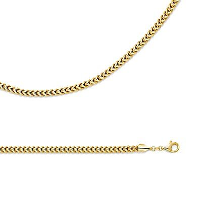 Wheat Necklace Solid 14k Yellow Gold Chain Hollow Franco Big , 4.4 mm