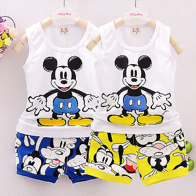 2PCS Toddler Kids Baby Boys Casual Mickey Vest Tops T Shirt + Shorts Outfits Set