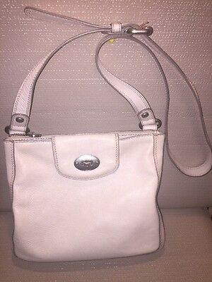 FOSSIL Off-white Leather Crossbody Shoulder Hobo Tote Satchel Slouch Purse