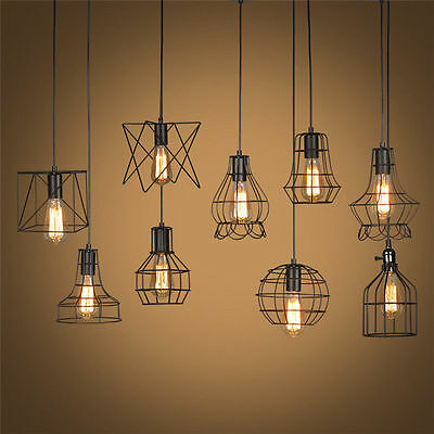 Edison Vintage Ceiling Metal Chandelier Lighting Pendant Light Fixture Wire Cage