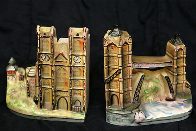 Pair Of Vintage Handpainted Ceramic London Bridge / Parliament House Bookends