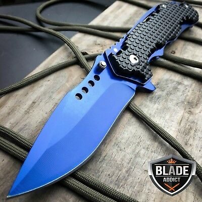 "8"" Blue Military Combat Tactical Spring Assisted Open Folding Pocket Knife"