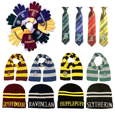 Harry Potter Gryffindor House Scarf Cap/Hat Gloves Tie Costume Cosplay Kid/Adult