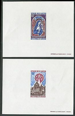 Cameroun #C195-6 1973 St. Teresa Carmelite Nun imperf deluxe proof sheets (2)