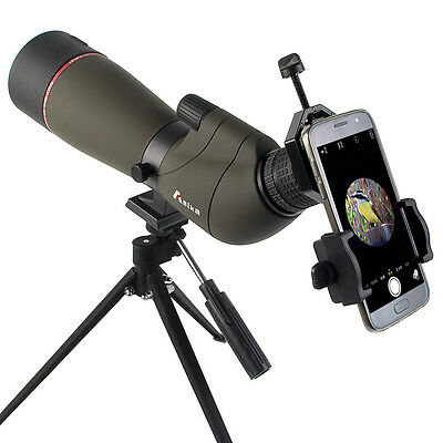 new Waterproof 20-60x65 Angled Zoom Spotting Scope+Cell Phone Adapter+Tripod-AU