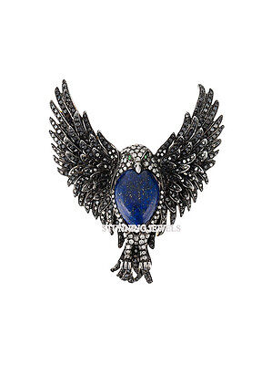 Vintage 5.90ct Rose Cut Diamond Sterling Silver Eagle Antique Sapphire Brooch