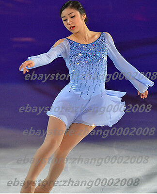 Ice skating dress.Blue Competition Figure Skating Dress /Baton Twirling Costume