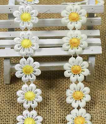 3 Yards flowers Crochet embroidery Lace Trim Wedding Bridal Ribbon Sewing